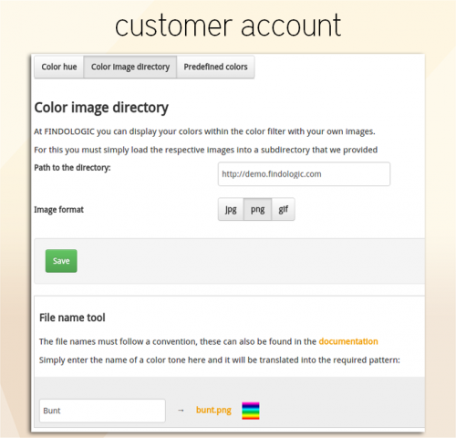Tab: Color image directory